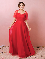 cheap -A-Line Plus Size Red Engagement Formal Evening Dress Illusion Neck Half Sleeve Floor Length Lace Satin Tulle with Ruched 2020