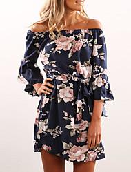 cheap -Women's A Line Dress - Geometric Sequins Tassel Fringe Blue S M L XL