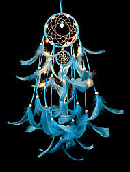 cheap -Feather Crafts Blue Dream Catcher Wind Chimes Handmade Dreamcatcher Net With Feather Beads for Wall Hanging Car Home Decor