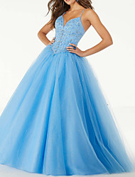 cheap -Ball Gown V Neck Floor Length Tulle Elegant / Sexy Prom Dress with Pleats / Sequin 2020