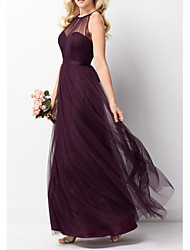 cheap -A-Line Beautiful Back Purple Engagement Prom Dress Halter Neck Sleeveless Floor Length Tulle with Pleats 2020