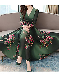 cheap -Women's Sheath Dress - Floral Wine Maxi Blue Green M L XL XXL