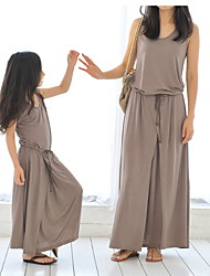 cheap -Mommy and Me Solid Colored Clothing Set Brown