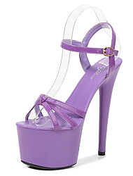 cheap -Women's Sandals Heel Sandals Summer Stiletto Heel Round Toe Classic Party & Evening Buckle Solid Colored PU White / Black / Purple