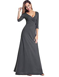 cheap -Mermaid / Trumpet V Neck Floor Length Chiffon Minimalist / Gray Formal Evening / Wedding Guest Dress with Ruched 2020