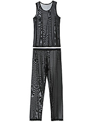 cheap -Men's Mesh Suits Nightwear Solid Colored Black White Purple S M L