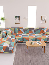 cheap -Geometric Triangle Print Dustproof Stretch Slipcovers Stretch L Shape Sofa Cover Super Soft Fabric Couch Cover (You will Get 1 Throw Pillow Case as free Gift)