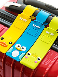 cheap -Cartoon Characters Mr and Mrs Luggage Tag Personalized Custom Made Unique Luggage Accessory Durable Convenient Leather Silica Gel 1pc Black Bronze Red / Orange Cartoon Monogram Travel Accessory