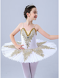 cheap -Kids' Dancewear Gymnastics Ballet Leotard / Onesie Scattered Bead Floral Motif Style Pleats Pearls Girls' Performance Daily Wear Sleeveless Tulle Polyester