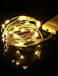 Недорогие -Мини светодиодный свет шнура 1 м серебряный провод фея огни для гирлянды домой рождественские украшения свадьбы питание от cr2032 батареи