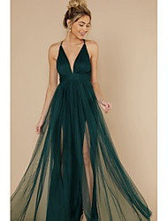 cheap -Women's Holiday Beach Casual Sexy Chiffon Dress - Solid Color Backless Mesh Army Green S M L XL
