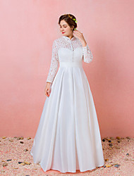 cheap -A-Line Wedding Dresses High Neck Floor Length Lace Satin Long Sleeve Formal Simple Plus Size with Lace Buttons 2020