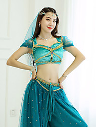 cheap -Belly Dance / Dance Costumes Hip Scarves Women's Performance / Theme Party Suede / Satin / Tulle Gold Coin / Pearls Top