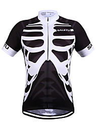 cheap -SALETU Men's Women's Short Sleeve Cycling Jersey 100% Polyester Black / White Bike Jersey Top Breathable Quick Dry Reflective Strips Sports Clothing Apparel / Stretchy / Sweat-wicking
