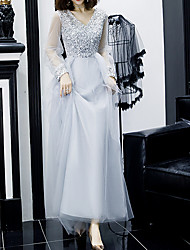 cheap -A-Line V Neck Floor Length Polyester / Sequined Sparkle / Gray Prom / Formal Evening Dress with Sequin 2020