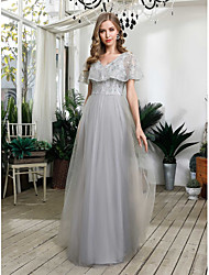 cheap -A-Line Prom Formal Evening Dress V Neck Short Sleeve Floor Length Tulle Sequined with Sequin 2021