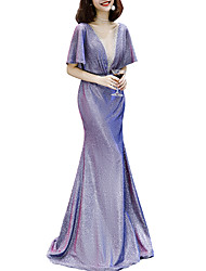 cheap -Mermaid / Trumpet Jewel Neck Floor Length Polyester Elegant / Purple Formal Evening / Party Wear Dress with Sequin 2020
