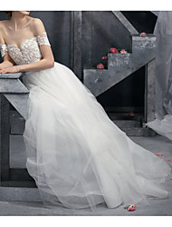 cheap -A-Line Wedding Dresses Off Shoulder Sweep / Brush Train Polyester Short Sleeve Formal Plus Size with Draping 2020