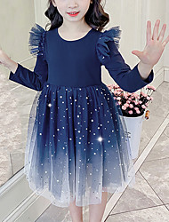 cheap -Kids Girls' Cute Blue Galaxy Solid Colored Mesh Patchwork Long Sleeve Knee-length Dress Royal Blue