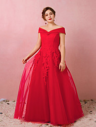 cheap -A-Line Off Shoulder Floor Length Lace / Satin / Tulle Plus Size / Red Engagement / Prom Dress with Appliques 2020