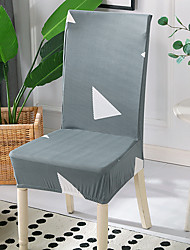 cheap -High Quality Printed Grey Triangle Spandex Chair Covers For Dining Room Chair Cover For Party Chair Cover For Wedding Living Room Chair Covers