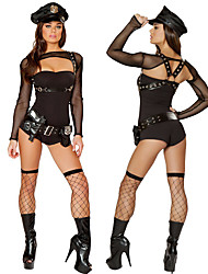 cheap -Police Adults' Women's Dress Outfits For Spandex Polyster Masquerade Leotard / Onesie Belt Hat
