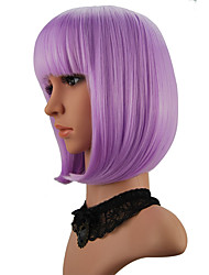 cheap -Synthetic Wig kinky Straight Halloween Bob Neat Bang Wig Short Purple Synthetic Hair 12 inch Women's Best Quality Purple