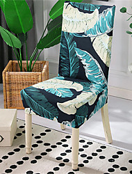 cheap -Green Leaves Print Very Soft Chair Cover Stretch Removable Washable Dining Room Chair Protector Slipcovers Home Decor Dining Room Seat Cover