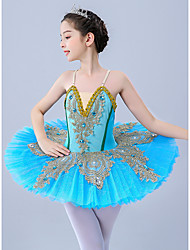 cheap -Kids' Dancewear / Gymnastics / Ballet Leotards / Tutus & Skirts Girls' Performance / Theme Party Polyester / Tulle Scattered Bead Floral Motif Style / Pleats / Pearls Sleeveless Leotard / Onesie