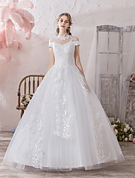 cheap -Ball Gown High Neck Floor Length Polyester / Lace / Tulle Sleeveless Formal / Romantic Wedding Dresses with Lace 2020