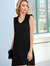 cheap -Women's Shift Dress - Solid Color Black Wine Blue S M L XL