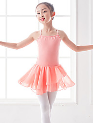 cheap -Ballet Dresses Girls' Training / Performance Polyester / Cotton Blend / Lycra Criss Cross / Cascading Ruffles / Split Joint Sleeveless Natural Dress