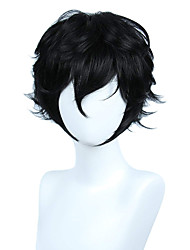 cheap -Synthetic Wig Loose Curl Halloween Asymmetrical Wig Short Natural Black Synthetic Hair 10 inch Men's Best Quality Fluffy Black