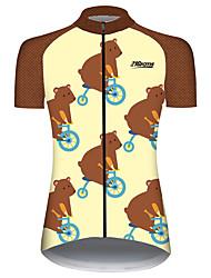 Недорогие -21Grams Жен. С короткими рукавами Велокофты Коричневый Пэчворк Животное Мышь Велоспорт Джерси Верхняя часть Горные велосипеды Шоссейные велосипеды Устойчивость к УФ Дышащий Быстровысыхающий