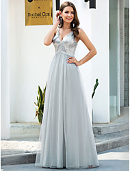 cheap -A-Line Plunging Neck Floor Length Tulle Bridesmaid Dress with Sequin