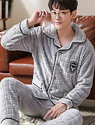 cheap -Men's Suits Nightwear Wine Navy Blue Gray L XL XXL