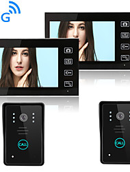 cheap -Wireless 2.4GHz 7 inch Hands-free 800*480 Pixel Two to Two video doorphone
