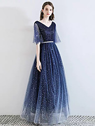 cheap -A-Line V Neck Floor Length Lace / Satin / Tulle Sparkle / Blue Prom / Formal Evening Dress with Beading / Sash / Ribbon 2020