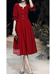 cheap -A-Line V Neck Knee Length Spandex Minimalist / Red Cocktail Party / Homecoming Dress with Buttons 2020