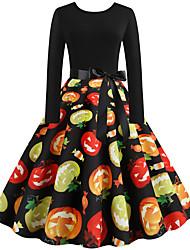 cheap -Women's Black Dress Vintage Style Street chic Party Daily Swing Print Patchwork Print S M / Cotton