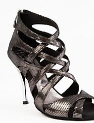 cheap -Women's Latin Shoes PU Heel Slim High Heel Dance Shoes Black / Silver / Performance