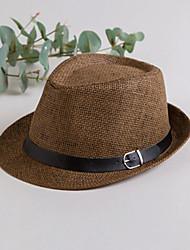 Недорогие -Универсальные Для вечеринки Классический Соломенная шляпа Солома,Однотонный Все сезоны Черный Белый Коричневый