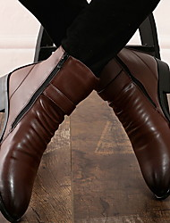 cheap -Men's Leather Fall & Winter Classic Boots Booties / Ankle Boots Brown / Black