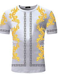 cheap -Men's Going out Work Business / Elegant T-shirt - Color Block / Plaid / Tribal Print Black