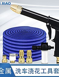 cheap -25/50ft Garden Hose Pipe Expandable Magic Hose Stretch Water Hose Pipe with 7 Function Spray Gun Updated Version Brass Hose High Pressure Gradening/ Car Washing Blue(25FT) Black(50FT)