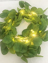 cheap -New Artificial Ivy Eucalyptus Leaves Fairy Led String Garland Party Holiday Decor Lighting Led String For Wedding Home Led AA Battery Power 2M 20Leds