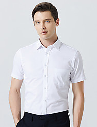 cheap -Men's Solid Colored Shirt Business Daily Work White / Black / Blue / Blushing Pink / Navy Blue / Short Sleeve