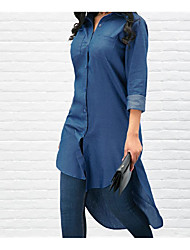 cheap -Women's Daily Shirt - Solid Colored Blue