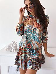 cheap -Women's Blue Dress A Line Print Crew Neck S M Loose