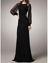 cheap -Sheath / Column Jewel Neck Floor Length Polyester Elegant / Black Formal Evening / Wedding Guest Dress with Beading / Ruched 2020